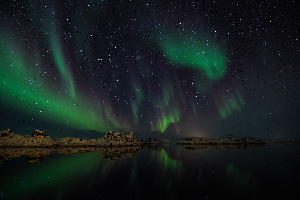 Aurora borealis over Myvatn, Northern Iceland