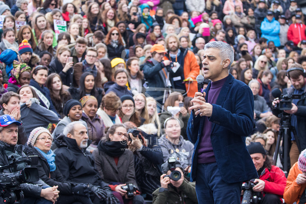 "City Hall, London, March 5th 2017. Stars join March4Women through London. Mayor of London Sadiq Khan and suffragette descendents prepare to march and ""sing for a fairer world ahead of International Women's Day"". Attended by Annie Lennox, Emeli Sande, Helen Pankhurst, Bianca Jagger and with musical performances from Emeli Sande, Melanie C and more. PICTURED: Mayor of London Sadiq Khan"