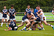 Bradford Bulls scrum half Cory Aston (41) is stopped short of the try line during the Kingstone Press Championship match between Swinton Lions and Bradford Bulls at the Willows, Salford, United Kingdom on 20 August 2017. Photo by Simon Davies.