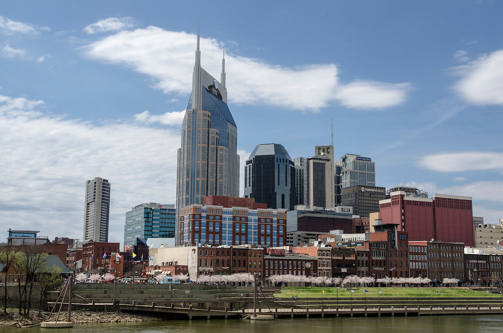 Cityscape of Nashville in spring with the Cherry Blossoms in bloom