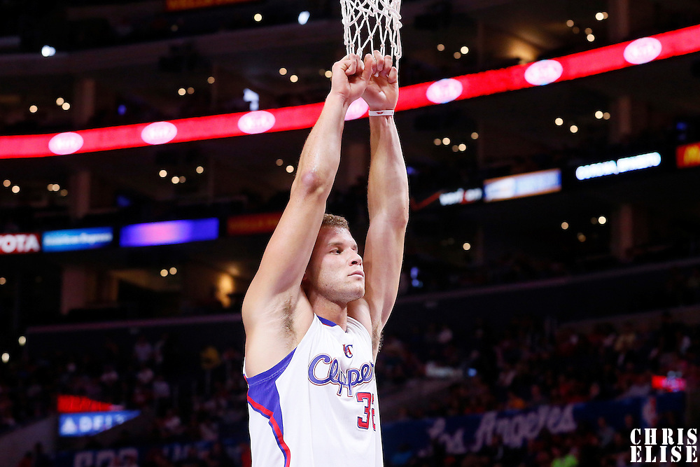 07 October 2014: Los Angeles Clippers forward Blake Griffin (32) is seen during the Golden State Warriors 112-94 victory over the Los Angeles Clipper, in a preseason game, at the Staples Center, Los Angeles, California, USA.