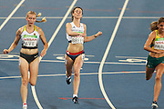 Olivia Breen of Great Britain in lane 5. Round 1 Heat 1/2 of the Women's 100m - T38. At the Olympic Stadium on Day 1 of the 2016 Rio Paralympic Games. Thursday 8th September 2016<br /> Also Pictured from left to right<br /> FERNANDES Maria of Portugal<br /> HIPOLITO Veronica of Brazil.<br /> PARDY Ella Azura of Australia.<br /> AVE Lindy of Germany.<br /> MANSOUR Sonia of Tunisia.<br /> TAKAMATSU Yuka of Japan.