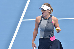 January 6, 2018 - Auckland, Auckland, New Zealand - Caroline Wozniacki of Denmark celebrates winning points in her Quarter-final match against Sofia Kenin of USA during the WTA Women's Tournament at ASB Centre Count in Auckland, New Zealand on Jan 6, 2018. She defeats Sofia Kenin in three set clash to advance to the Semi-final. (Credit Image: © Shirley Kwok/Pacific Press via ZUMA Wire)