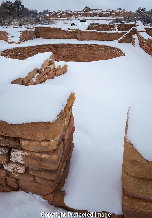 Far View ruin, snow, Mesa Verde National Park, CO