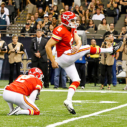September 23, 2012; New Orleans, LA, USA; Kansas City Chiefs place kicker Ryan Succop (6) kicks a game winning field goal against the New Orleans Saints during overtime of a game at the Mercedes-Benz Superdome. The Chiefs defeated the Saints 27-24 in overtime. Mandatory Credit: Derick E. Hingle-US PRESSWIRE