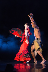 """© Licensed to London News Pictures. 05/05/2014. London, England. Pictured: Ana Rosa Meneses Arocha dancing the Flamenco. The Cuban dance show """"Havana Rakatan"""" returns to the Peacock Theatre/Sadler's Wells for a sixth season. Photos from the dress rehearsal. Photo credit: Bettina Strenske/LNP"""