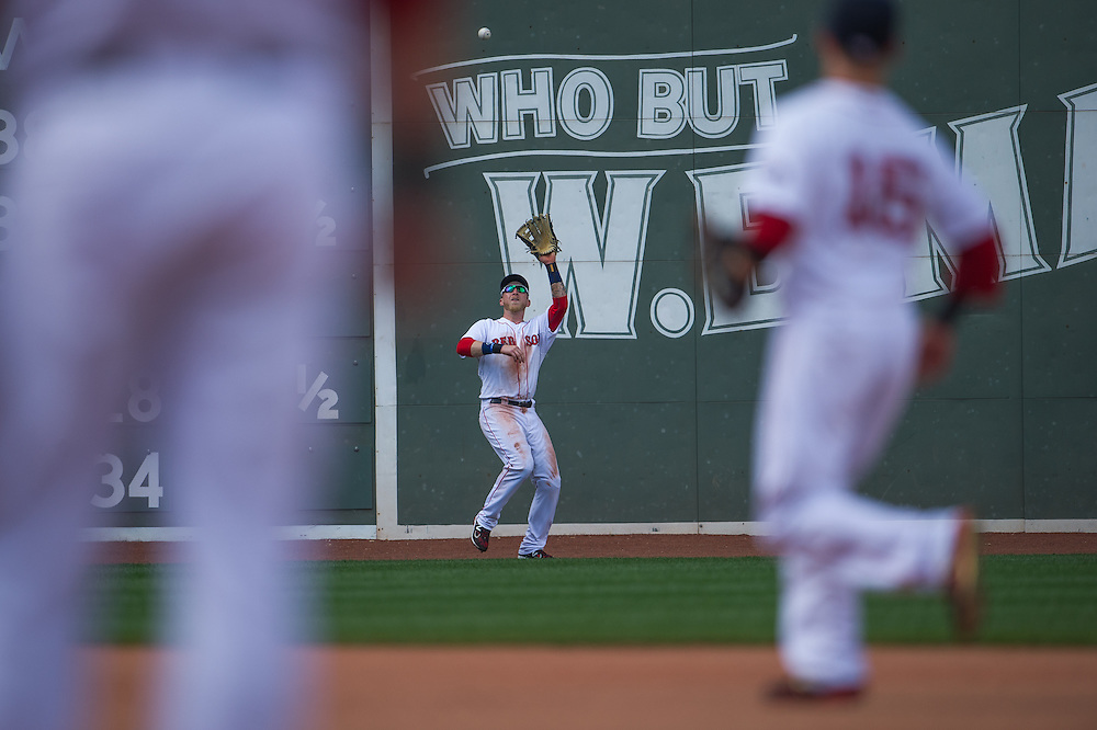 BOSTON, MA - JUNE 09: Mike Carp #37 of the Boston Red Sox defends his position during the game against the Los Angeles Angels at Fenway Park in Boston, Massachusetts on June 9, 2013. (Photo by Rob Tringali) *** Local Caption *** Mike Carp