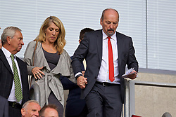 WIGAN, ENGLAND - Friday, July 14, 2017: Liverpool's chief executive officer Peter Moore and his wife before a preseason friendly match against Wigan Athletic at the DW Stadium. (Pic by David Rawcliffe/Propaganda)
