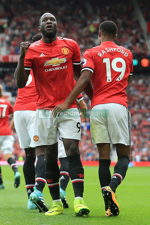 13th August 2017 - Premier League - Manchester United v West Ham United - Romelu Lukaku of Man Utd celebrates with teammate Marcus Rashford (R) after scoring their 2nd goal - Photo: Simon Stacpoole / Offside.