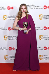 Jodie Comer in the press room during the Virgin Media BAFTA TV awards, held at the Royal Festival Hall in London. Photo credit should read: Doug Peters/EMPICS