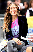 25.OCTOBER.2012. NEW YORK<br /> <br /> SARAH JESSICA PARKER ON THE TV SHOW,  ACCESS HOLLYWOOD IN NEW YORK CITY DISCUSSING BARACK OBAMA AND WEARING HER T-SHIRT FOR HER SUPPORT OF OBAMA.<br /> <br /> BYLINE: EDBIMAGEARCHIVE.CO.UK<br /> <br /> *THIS IMAGE IS STRICTLY FOR UK NEWSPAPERS AND MAGAZINES ONLY*<br /> *FOR WORLD WIDE SALES AND WEB USE PLEASE CONTACT EDBIMAGEARCHIVE - 0208 954 5968*