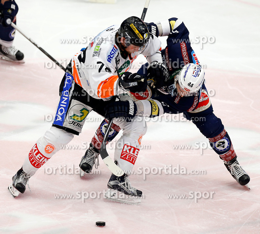 29.01.2016, Stadthalle, Villach, AUT, EBEL, EC VSV vs Moser Medical Graz 99ers, Qualifikationsrunde, im Bild Philipp Pinter (Graz99ers) und Eric Hunter (VSV) // during the Erste Bank Icehockey League Qualification round match between EC VSV vs Moser Medical Graz 99ers at the City Hall in Villach, Austria on 2016/01/29, EXPA Pictures © 2016, PhotoCredit: EXPA/ Oskar Hoeher