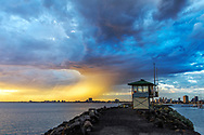Oceania; Australia; Australian; Down Under; Victoria, Melbourne, St. Kilda, sunset at pier