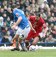 Photo: Mark Stephenson.<br /> Birmingham City v Cardiff City. Coca Cola Championship. 04/03/2007.Cardiff's Michael Chopra goes past Birmingham's Martin Taylor