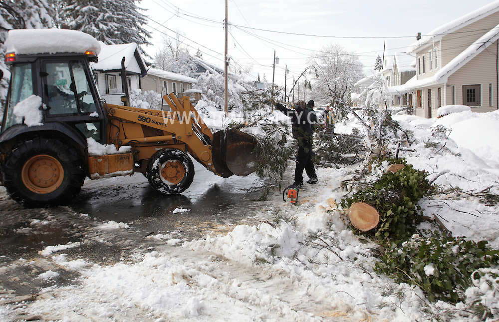 Middletown, New York - A municipal worker places branches from a tree that fell into a yard during a snowstorm into a front end loader on Feb. 27, 2010. Numerous trees fell after about two feet of snow fell over a two-day period.