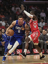 October 21, 2018 - Los Angeles, California, U.S - Danilo Gallinari #8 of the Los Angeles Clippers drives to the basket during their NBA game with the Houston Rockets on Sunday October 21, 2018 at the Staples Center in Los Angeles, California. (Credit Image: © Prensa Internacional via ZUMA Wire)