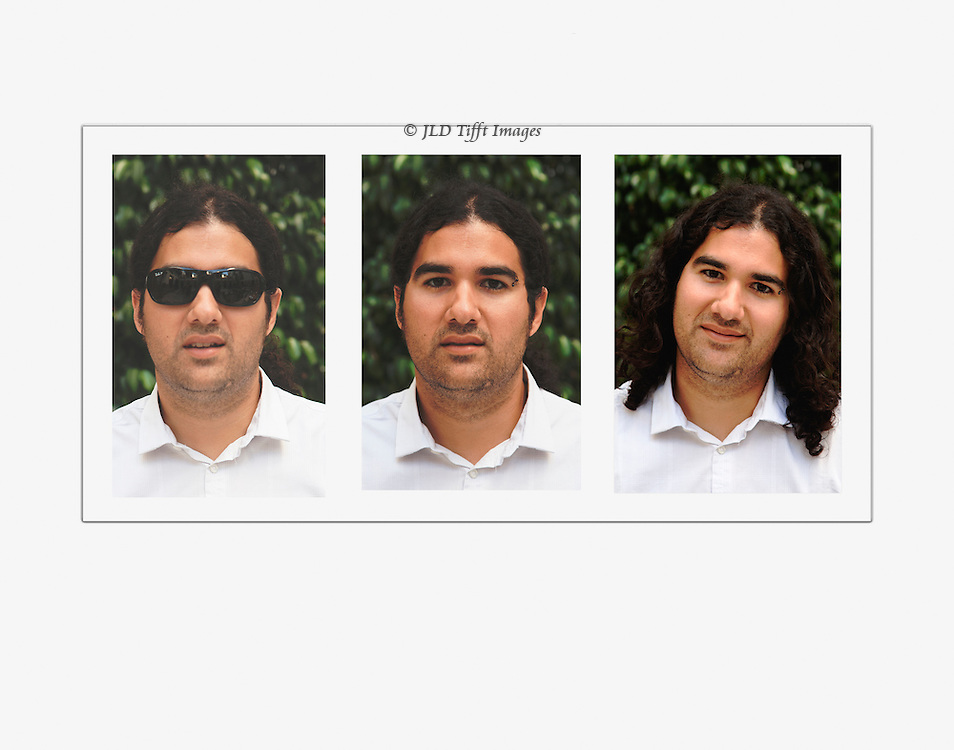 Three portraits in sequence: with and without sunglasses, hair tied back and hair let down