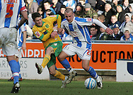 Huddersfield - Saturday, March 13th, 2010: Daniel Drinkwater of Huddersfield Town in action against Wesley Hoolahan of Norwich City during the Coca Cola League One match at the Galpharm Stadium, Huddersfield. (Pic by Michael Sedgwick/Focus Images)