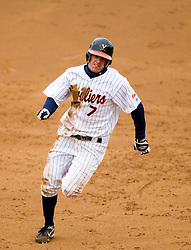 Virginia Cavaliers outfielder John Barr rounds second and heads to third on an error by Lehigh.  The #17 ranked Virginia Cavaliers baseball team defeated the Lehigh Mountain Hawks 5-1 in the 2008 season opener at the University of Virginia's  Davenport Field in Charlottesville, VA on February 23, 2008.