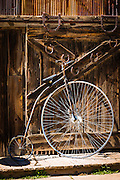 Antique bicycle in historic Old Town Square, Silverton, Colorado USA