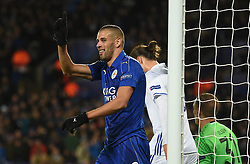 Islam Slimani of Leicester City waves his finger at the linesman after his goal is disallowed for offside.  - Mandatory by-line: Alex James/JMP - 10/01/2014 - FOOTBALL - King Power Stadium - Leicester, England - Leicester City v FC Copenhagen - UEFA Champions League