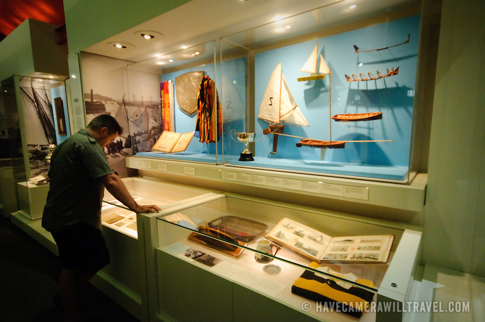 Display cases in an exhibit of the Australian National Maritime Museum in Sydney