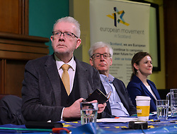 Pictured: Mike Russell, Mark Lazarowics and Catherine Stihler at the rally.<br /> <br /> Supporters for a People's Vote on Brexit held a Rally for Europe in Edinburgh on Saturday. Prominent speakers included Mike Russell, Labour MEP Catherine Stihler, economist Anton Muscatelli.<br /> <br /> © Dave Johnston / EEm
