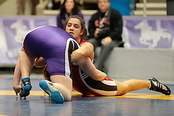 London, Ontario ---2013-03-02--- Olivia Dibacco of Brock takes on Monica Varallo of Western in the women's 82 KG 5th/6th match at the 2012 CIS Wrestling Championships in London, Ontario, March 02, 2013. .GEOFF ROBINS/Mundo Sport Images