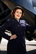 Living Historian as WAVE with Grumman F6F Hellcat.