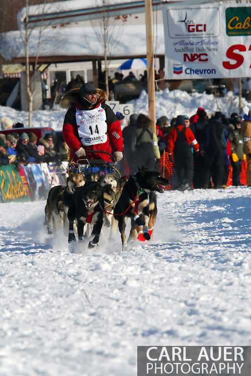 3/4/2007:  Willow, Alaska -  Veteran Randy Cummins of Big Lake, AK at the start of the 35th Iditarod Sled Dog Race