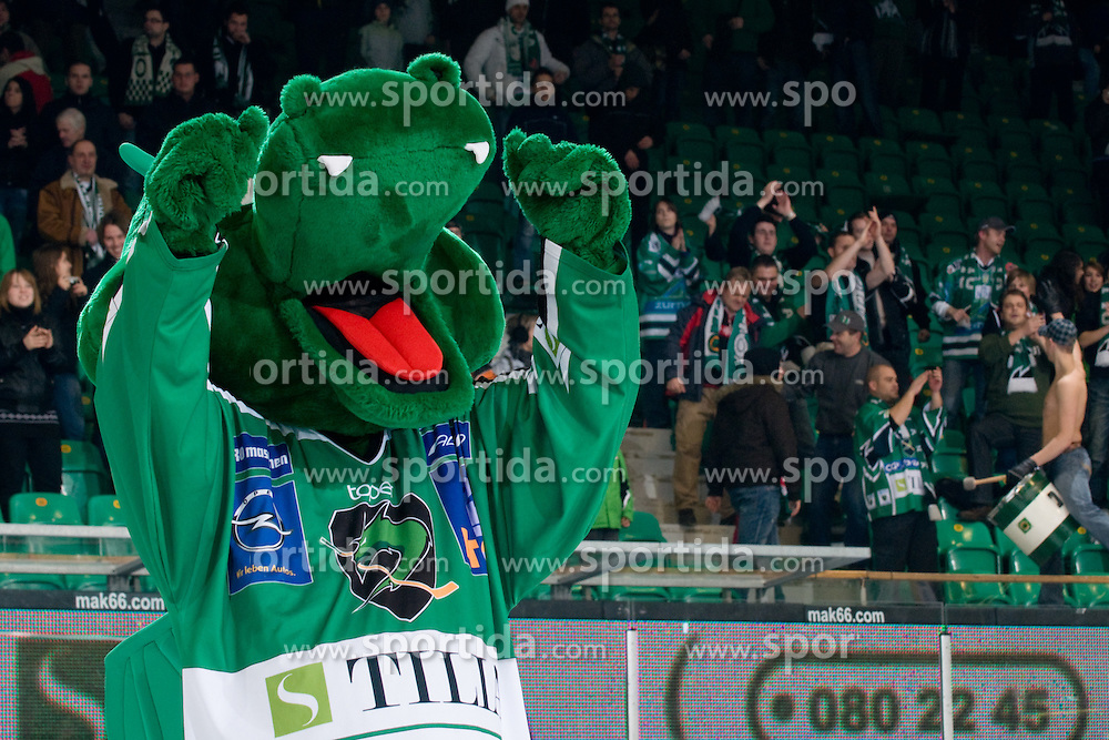 Official dragon Hoki celebrate victory during ice-hockey match between HDD Tilia Olimpija and EC KAC in 32nd Round of EBEL league, on December 30, 2010 at Hala Tivoli, Ljubljana, Slovenia. (Photo By Matic Klansek Velej / Sportida.com)