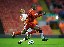 LIVERPOOL, ENGLAND - Thursday, May 5, 2011: Liverpool's Emmanuel Gomis Mendy in action against Manchester United during the FA Premiership Reserves League (Northern Division) match at Anfield. (Photo by David Rawcliffe/Propaganda)