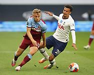 Jarrod Bowen of West Ham United takes on Dele Alli of Tottenham during the Premier League match at the Tottenham Hotspur Stadium, London. Picture date: 23rd June 2020. Picture credit should read: David Klein/Sportimage