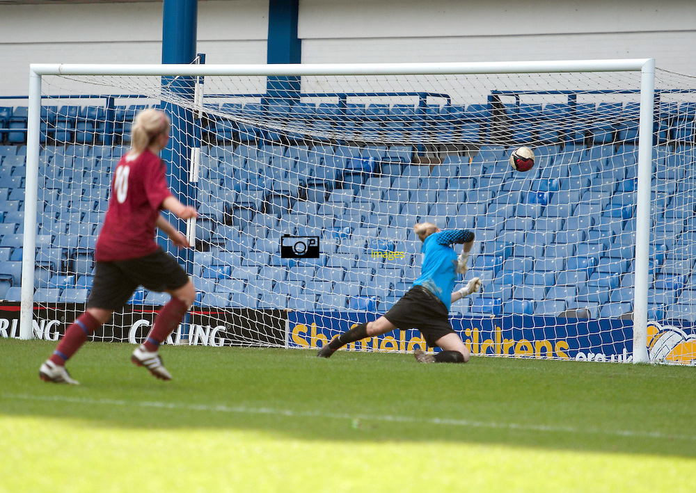 Varsity XV Women's Football 1st - University of Sheffield v sheffield Hallam University (mroon) at Hillsborough Stadium home to Sheffield Wednesday FC 06/04/2011