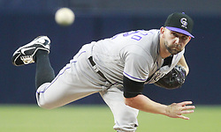May 2, 2017 - San Diego, CA, USA - The Colorado Rockies' Tyler Chatwood pitches against the San Diego Padres in the first inning at Petco Park in San Diego on Tuesday, May 2, 2017. (Credit Image: © Hayne Palmour Iv/TNS via ZUMA Wire)
