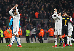 February 6, 2019 - Barcelona, BARCELONA, Spain - Casemiro and Carvajal of Real Madrid in action during Spanish King championship, football match between Barcelona and Real Madrid, February 06th, in Camp Nou Stadium in Barcelona, Spain. (Credit Image: © AFP7 via ZUMA Wire)