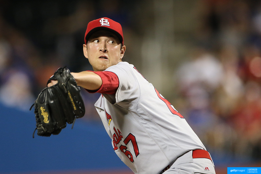 NEW YORK, NEW YORK - July 26: Pitcher Matt Bowman #67 of the St. Louis Cardinals pitching during the St. Louis Cardinals Vs New York Mets regular season MLB game at Citi Field on July 26, 2016 in New York City. (Photo by Tim Clayton/Corbis via Getty Images)