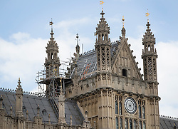 © Licensed to London News Pictures. 08/09/2016. London, UK. Scaffolding is visible on the roof of the House of Lords.  A Parliamentary committee is recommending that MPs and Peers move out to enable much needed repairs to the crumbling infrastructure of the Medieval and Victorian Palace of Westminster. Photo credit: Peter Macdiarmid/LNP