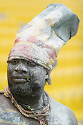 A supporter of the Ghana national football team with his face covered in talcum powder prior to a game between Ghana and Cameroon during the 2008 Africa Cup of Nations in Accra, Ghana on February 7, 2008.