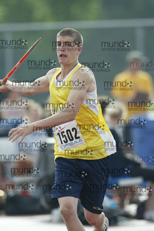(London, Ontario}---05 June 2010) \\ the junior boys javelin at the 2010 OFSAA Ontario High School Track and Field Championships in London, Ontario, June 05, 2010 . Photograph copyright Sean burges / Mundo Sport Images, 2010.