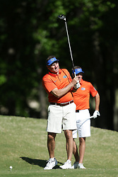 Dan Mullen tees off during the Chick-fil-A Peach Bowl Challenge at the Oconee Golf Course at Reynolds Plantation, Sunday, May 1, 2018, in Greensboro, Georgia. (Marvin Gentry via Abell Images for Chick-fil-A Peach Bowl Challenge)