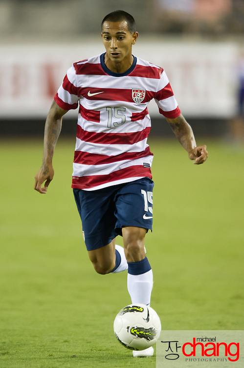 May 26 2012: USA's Edgar Castillo (15) drives down the field during the second half of play of the U.S. Men's National Soccer Team game against Scotland at Everbank Field in Jacksonville, FL. USA defeated Scotland 5-1.