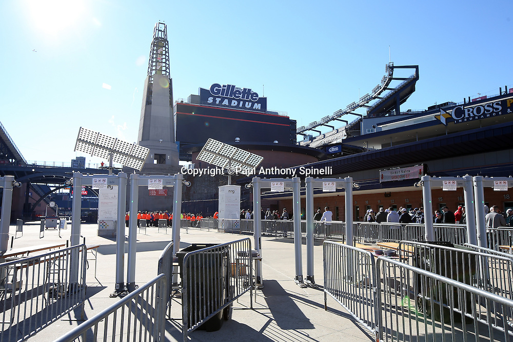 The security metal detector machines stand ready outside the stadium in this general view photograph taken of the exterior facade of Gillette Stadium at the entrance to the field before the New England Patriots 2015 week 9 regular season NFL football game against the Washington Redskins on Sunday, Nov. 8, 2015 in Foxborough, Mass. The Patriots won the game 27-10. (©Paul Anthony Spinelli)