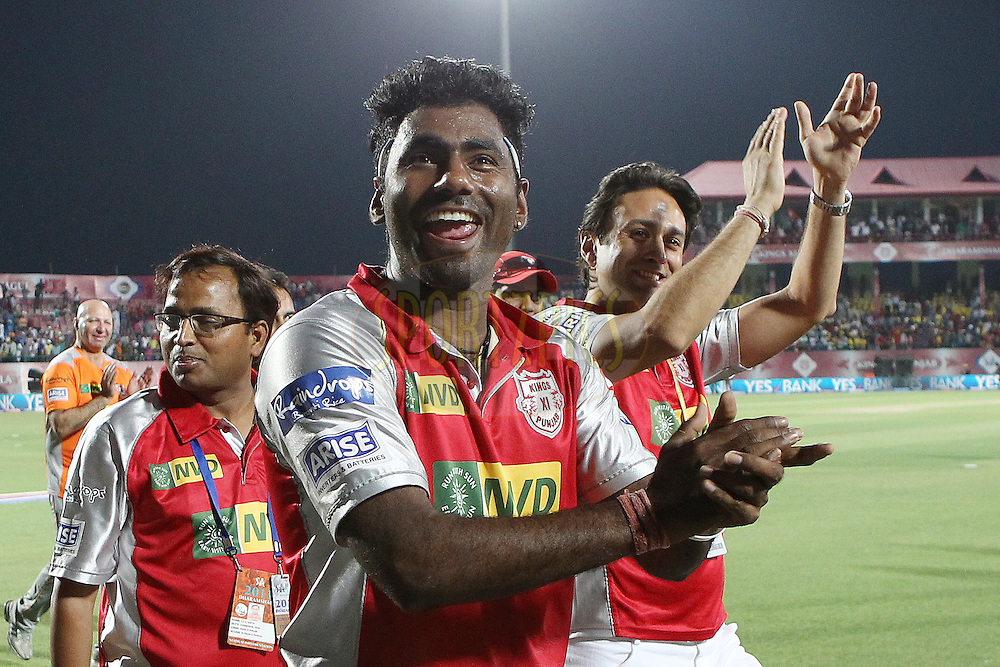 Parvinder Awana and Kings XI Punjab players acknowledge the support of the Dharamsala crowd after the match during match 69 of the Pepsi Indian Premier League between The Kings XI Punjab and the Mumbai Indians held at the HPCA Stadium in Dharamsala, Himachal Pradesh, India on the on the 18th May 2013..Photo by Ron Gaunt-IPL-SPORTZPICS ..Use of this image is subject to the terms and conditions as outlined by the BCCI. These terms can be found by following this link:..http://www.sportzpics.co.za/image/I0000SoRagM2cIEc