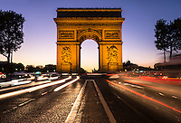 Arc de triomphe in early evening Paris France