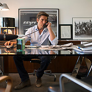 "August 29, 2014 - New York, NY : ABC News Anchor David Muir's makes a phone call in his office on Friday afternoon. Muir is taking over for Diane Sawyer as anchor of ABC's ""World News Tonight."" CREDIT: Karsten Moran for The New York Times"