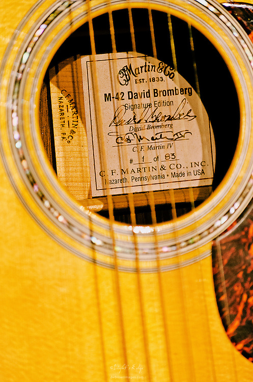 The label inside of David Bromberg's C. F. Martin M-42 Signature Edition guitar which he used during his show at The Landis Theater in Vineland, NJ.