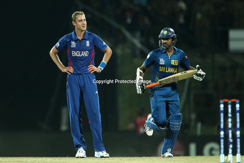 Stuart Broad (Captain) of England reacts after a misfield leads to a four during the ICC World Twenty20 Super Eights match between England and Sri Lanka held at the  Pallekele Stadium in Kandy, Sri Lanka on the 1st October 2012<br /> <br /> Photo by Ron Gaunt/SPORTZPICS