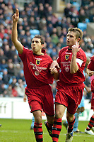 Photo: Ed Godden/Sportsbeat Images.<br />Coventry City v Cardiff City. Coca Cola Championship. 10/02/2007. Cardiff's Michael Chopra (L), celebrates after scoring from the penalty spot.