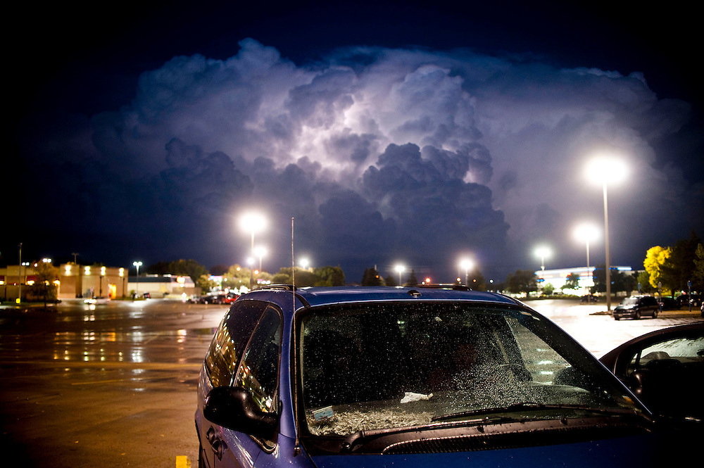 Lightening strikes within a storm cloud in Sioux City, Iowa Oct. 4, 2013. 12 tornadoes were confirmed from northeast Nebraska to southeast South Dakota and northwest Iowa, according to severe weather expert Dr. Greg Forbes. Photo by Lauren Justice